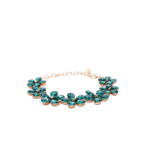 YouBella Green Gold-Plated Stone-Studded Floral Shaped Link Bracelet