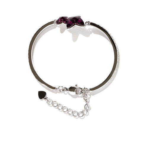 Yellow Chimes Purple & Silver-Toned SWAROVSKI Metal Rhodium-Plated Charm Bracelet