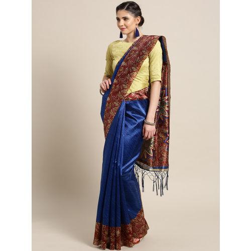 Saree mall Blue & Maroon Striped Saree