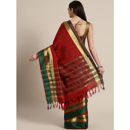 Saree mall Red & Green Solid Saree