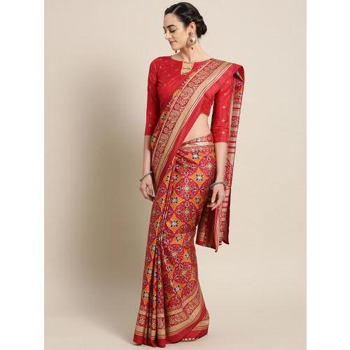Saree mall Red & Golden Silk Blend Printed Patola Saree