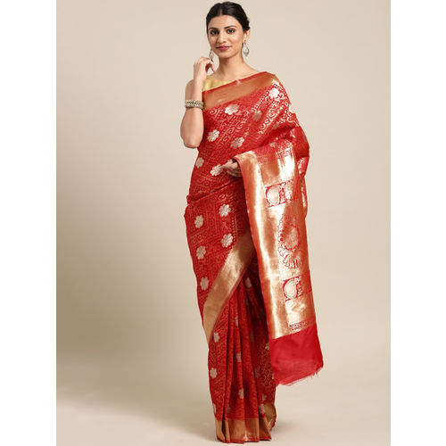 Saree mall Red & Gold-Toned Silk Blend Woven Design Banarasi Saree & Matching Blouse