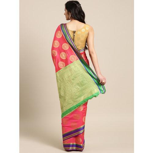 Saree mall Pink Silk Blend Woven Design Banarasi Saree