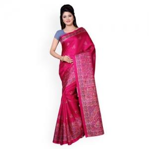 Saree mall Pink Art Silk Floral Print Saree