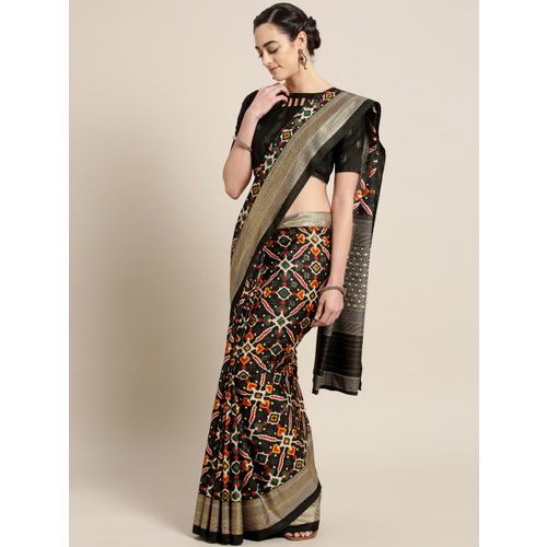 Saree mall Black & Red Printed Patola Saree