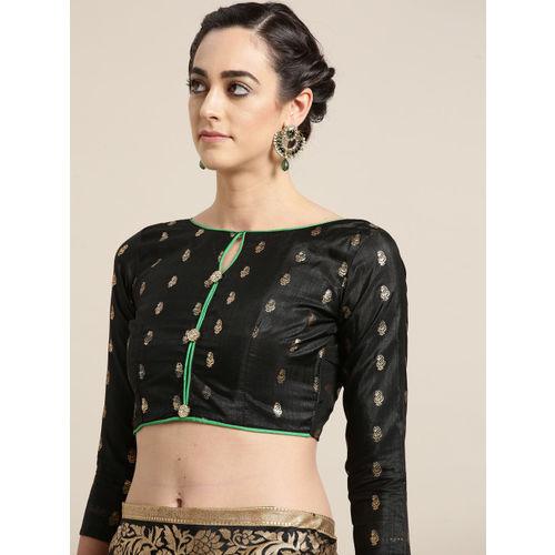 Saree mall Black & Green Printed Patola Saree