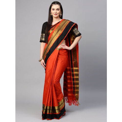 Saree mall Orange Solid Silk Cotton Saree