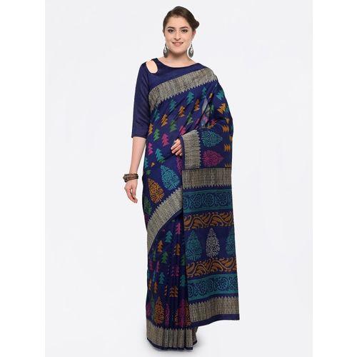 Saree mall Navy Blue Silk Blend Printed Bhagalpuri Saree