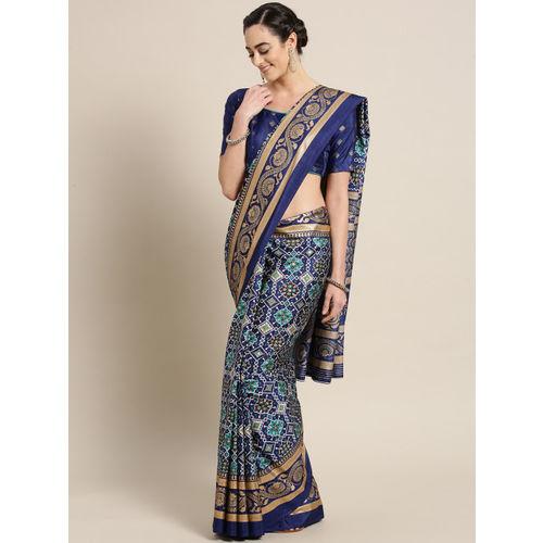 Saree mall Navy Blue & Golden Printed Patola Saree