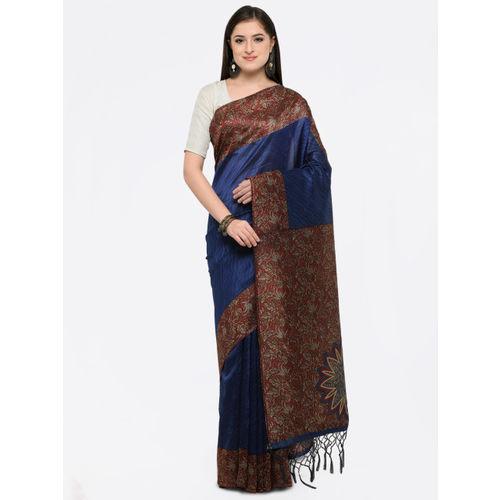 Saree mall Women Navy Blue Art Silk Printed Khadi Saree