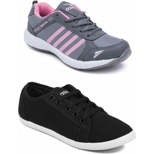 Asian Grey::Black Casual Shoes,Running Shoe,Walking Shoes,Loafres,Sneakers,Training Shoes. Casuals For Women(Black, Grey)