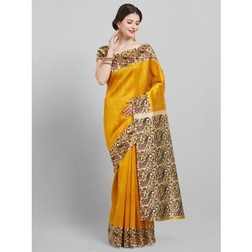 Saree mall Mustard Yellow Printed Art Silk Saree