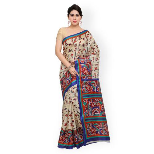 Saree mall Cream-Coloured Art Silk Printed Khadi Saree