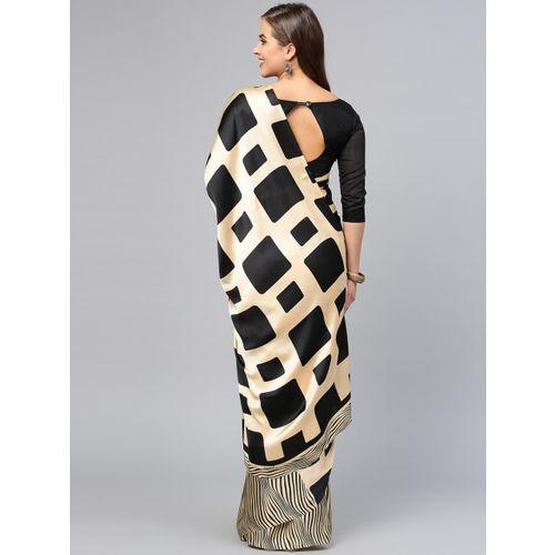 Saree mall Black & Cream-Coloured& Black Printed Saree