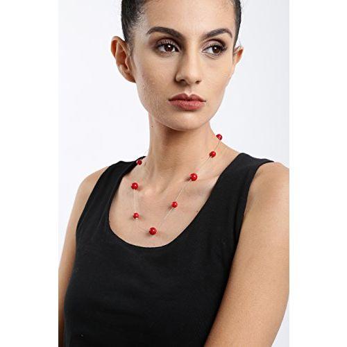 Zaveri Pearls Multi Strand Necklace for Women (Red) (ZPFK5325)