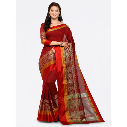 Saree mall Maroon Cotton Blend Woven Design Banarasi Saree