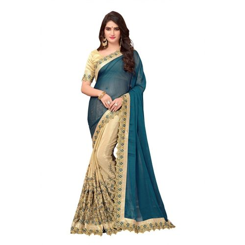 Availkart Embroidered, Embellished, Self Design Fashion Chiffon, Georgette Saree(Green, Beige)