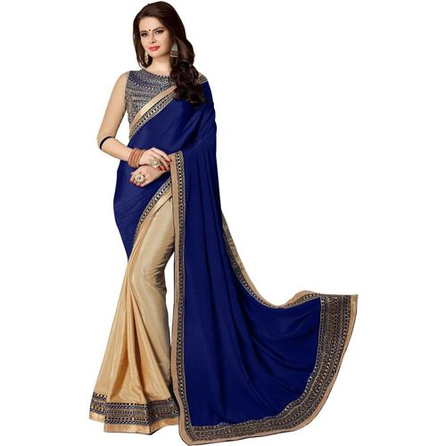 BRIDON Embroidered Bollywood Silk Cotton Blend Saree(Blue, Beige)