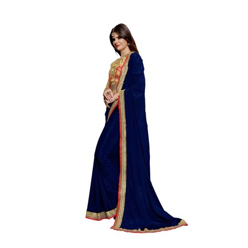 BRIDON Embroidered Bollywood Silk Cotton Blend Saree(Blue, Beige)