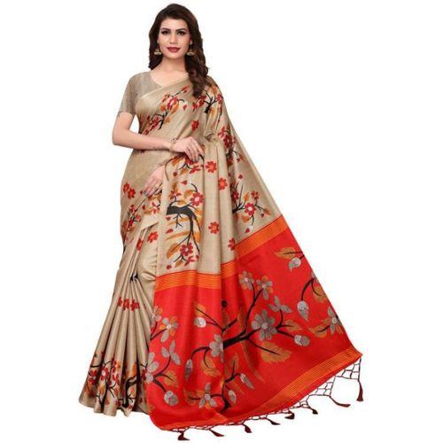 Medlly Self Design Fashion Khadi Silk Saree(Beige)