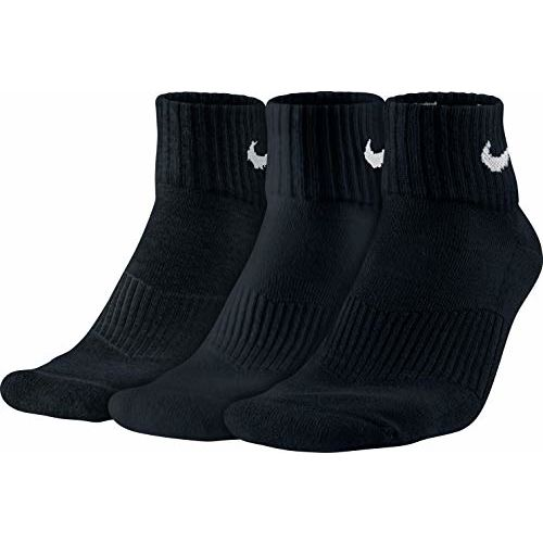 Nike Cotton Cushion Quarter Socks with Moisture Management - 3 Pack Black Small