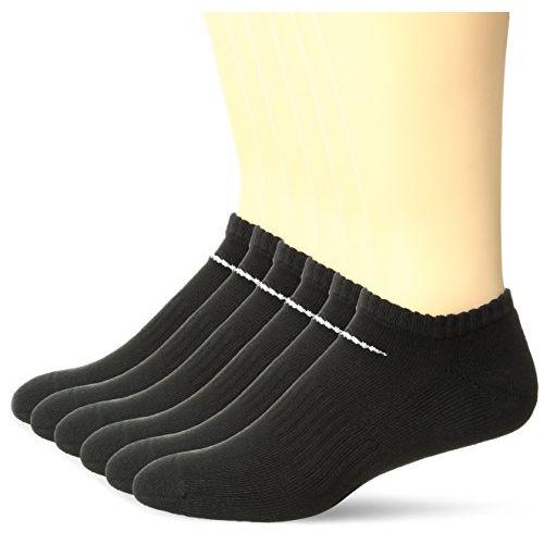 NIKE Performance Cushion No Show Meia Cotton Socks with Bag (6 Pairs), Black/White, Medium