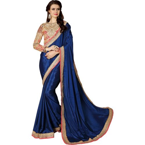 DOLVIA Embroidered Bollywood Chiffon Saree(Blue, Beige)