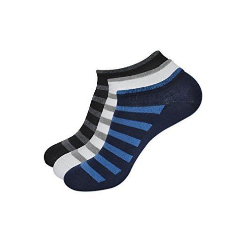 Balenzia Men's Cotton Low Cut Socks- Black, Navy, White (Pack of 3)