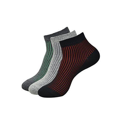 Balenzia Men's Ankle Socks- Black, L.Grey, D.Grey (Pack of 3)