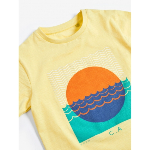 next Boys Yellow Printed Round Neck T-shirt