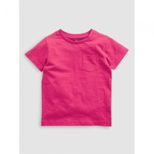 next Boys Pink Solid Round Neck T-shirt