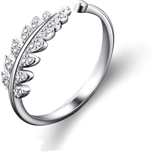 MYKI Princess Queen Swarovski Elements Leaves Adjustable Silver Plated Ring For Women Sterling Silver Cubic Zirconia 22K Yellow Gold Plated Ring