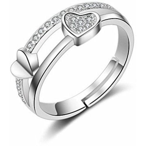 MYKI Smoky Heart Shape Adjustable Ring For Women Sterling Silver Swarovski Zirconia 24K White Gold Plated Ring