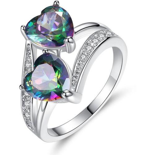 MYKI Stylish Double Heart Multicolor Stone Sterling Silver Zircon Ring For Women Girls Sterling Silver Swarovski Zirconia Sterling Silver Plated Ring
