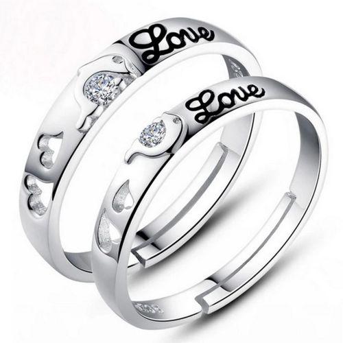 MYKI Dolphin Love Sterling Silver Swarovski Zirconia Adjustable Couple Rings Sterling Silver Swarovski Zirconia 24K White Gold Plated Ring Set