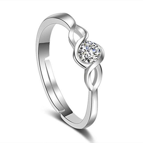 MYKI Elegant Solitaire Crystal Engagement Adjustable Ring For Women & Girls Sterling Silver Swarovski Zirconia 24K White Gold Plated Ring