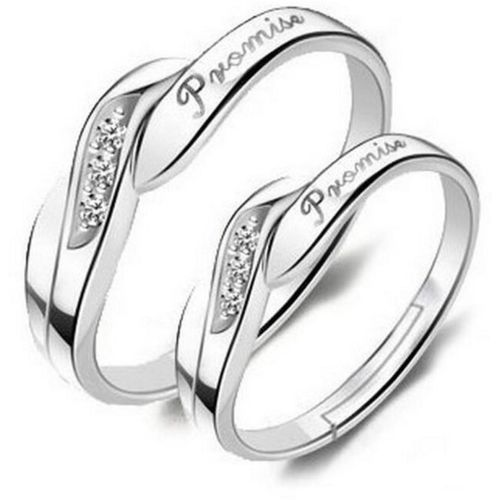 MYKI King & Queen Valentine Promise Couple Ring ( Adjustable ) Sterling Silver Swarovski Crystal 24K White Gold Plated Ring Set
