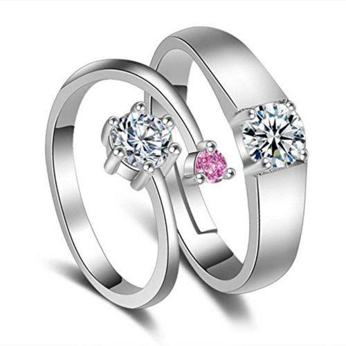MYKI King & Queen Designer Edition Silver Adjustable Love Couple Rings Sterling Silver Swarovski Zirconia 24K White Gold Plated Ring
