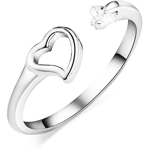 MYKI Dazzling Sterling Silver Hollow Cubic Zirconia Ring for women & girls Sterling Silver Swarovski Zirconia 24K White Gold Plated Ring