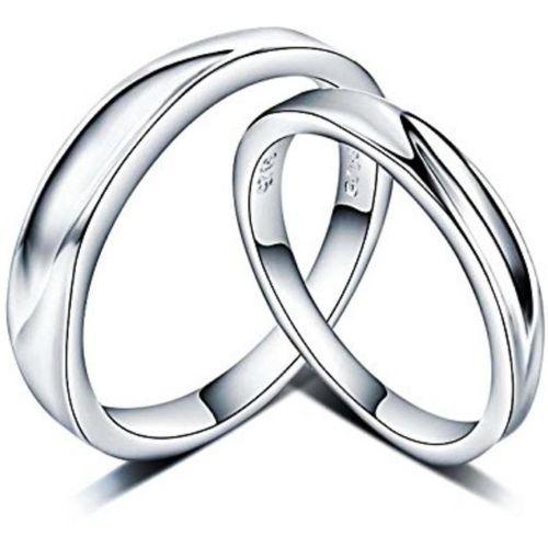 MYKI Alluring Engagement Adjustable Couple Rings Sterling Silver Swarovski Zirconia 24K White Gold Plated Ring