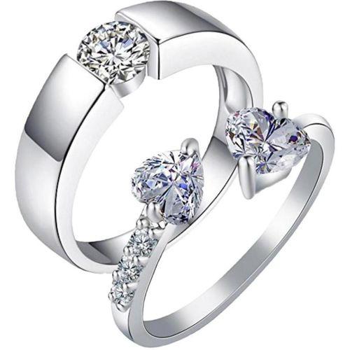 MYKI King & Queen Valentine Adjustable Couple Rings Sterling Silver Swarovski Zirconia 24K White Gold Plated Ring Set
