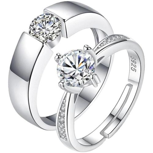 MYKI King & Queen Adjustable Couple Rings Sterling Silver Swarovski Zirconia 24K White Gold Plated Ring