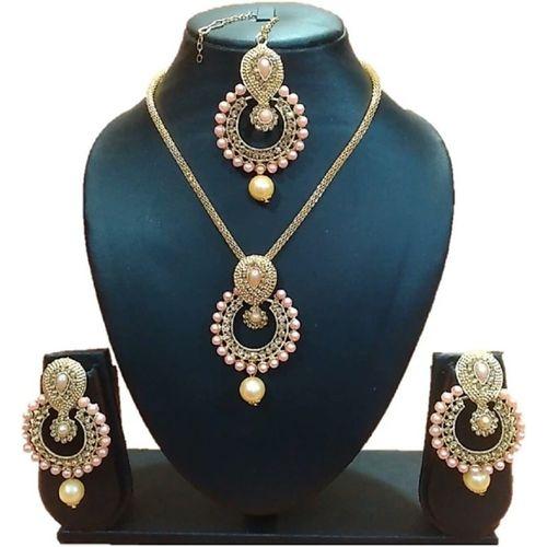 Urbanela Brass Jewel Set(Gold, Pink)