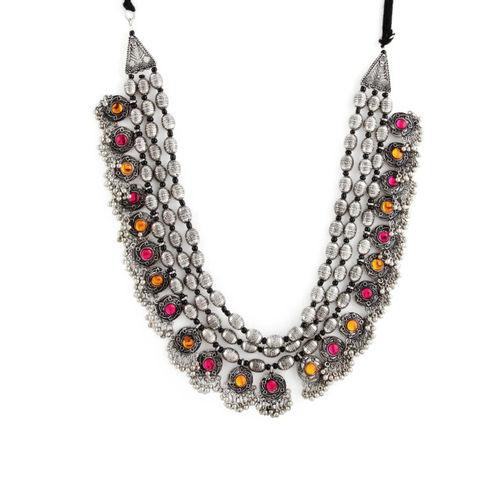 Rubans Silver-Toned Metal Temple Necklace