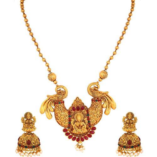 Divastri Copper, Brass, Stone Jewel Set(Gold, Red, Green)