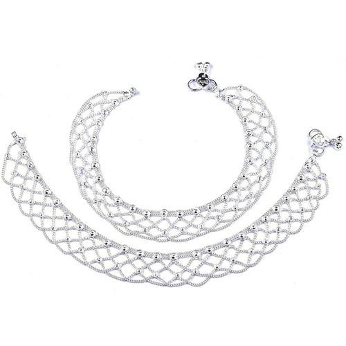 Fluck Pair of Silver Plated Alloy Anklet(Pack of 2)