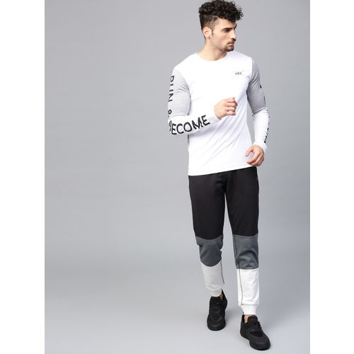 HRX by Hrithik Roshan Men Black & Grey Colourblocked Athleisure Joggers