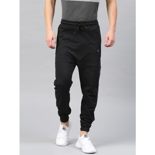 HRX by Hrithik Roshan Black Drop-Crotch Joggers