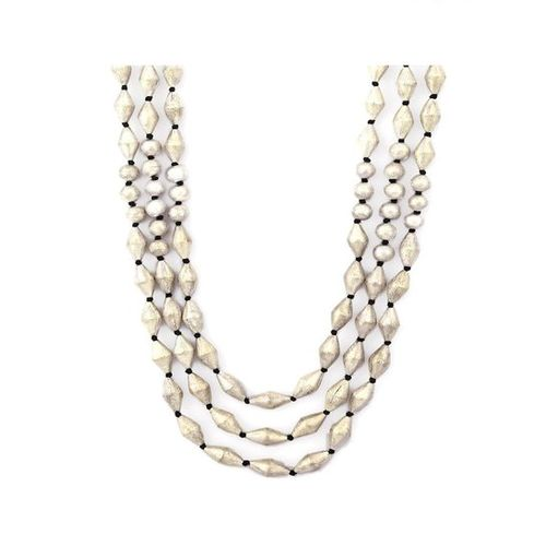 Rubans Silver Metal Hollow Beads Necklace