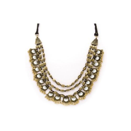 Rubans Mirror Golden Alloy Casual Necklace
